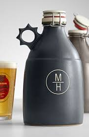 your favorite beer connoisseur can carry home 64 ounces from his favorite brewery in a monogrammed ceramic growler from the portland growler pany