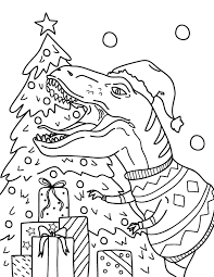 Print, color and enjoy these christmas coloring pages! Printable Christmas Dinosaur Coloring Page
