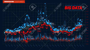 Stock Chart Big Vector Abstract Financial Big Data Graph Visualization Stock