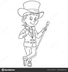 Kleurplaat Cartoon Gentleman Tuxedo Strikje Hoge Hoed Met Wandelstok