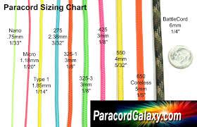 Rope Size Chart Paracord Size Chart Paracord Bracelets Paracord Supplies