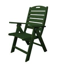 Image Polywood Nautical Highback Green Plastic Outdoor Patio Dining Chair Home Depot Folding Green Polywood Patio Chairs Patio Furniture The
