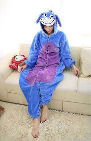 plus size footed pajamas winter donkey eeyore kawaii cosplay footed pajamas adults onesie