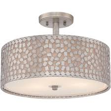 quoizel confetti 3 light semi flush ceiling fitting in old silver finish with off white linen