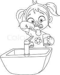 brushing teeth drawing. Unique Brushing Outlined Young Girl Brushing Her Teeth Vector Illustration Coloring Page   Stock Colourbox To Brushing Teeth Drawing N