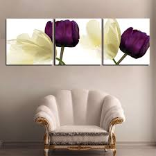 3 piece yellow purple flowers wall art canvas print with stretched frame ready to hang on 3 piece framed wall art for sale with 3 piece yellow purple flowers wall art canvas print with stretched