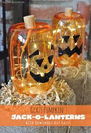 mason jar glass pumpkins craft idea
