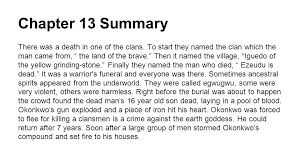 things fall apart a beginner s guide to yam farming chapters  chapter 13 summary there was a death in one of the clans