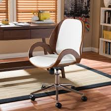upholstered office chairs. Exellent Office Baxton Studio Watson White Faux Leather Upholstered Office Chair With Chairs