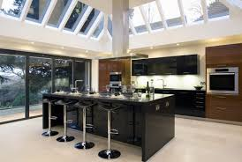 kitchen: Amazing Tropical Kitchen Design Idea With Appealing Skylights Plus  Awesome Black Accents Kitchen Island