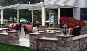 stamped concrete patio with square fire pit. Home Patio With Custom Concrete Seat Walls And Fire Pit Stamped Square I
