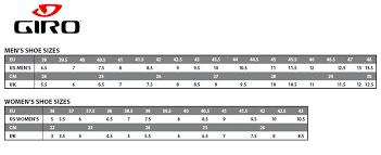 Cycling Shoe Size Chart 43 Particular Giro Cycling Shoes Sizing
