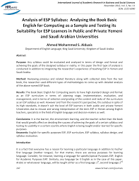analysis of esp syllabus analysing the book basic english for analysis of esp syllabus analysing the book basic english for computing as a sample and testing its suitability for esp learners in public and private