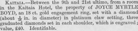 Papers Past | Magazines and Journals | New Zealand Police Gazette | 5  September 1945 | PROPERTY STOLEN
