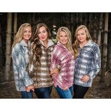 True Grit Womens 1 4 Zip Frosty Tipped Plaid Sherpa Pullover Sweater S M Ebay