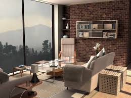 ikea brick wall living room design with glass table and floor to ceiling sliding glass windows brick living room furniture