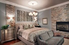 glamorous metal nightstand in bedroom transitional with mixed wood next to corner gas fireplace alongside art over