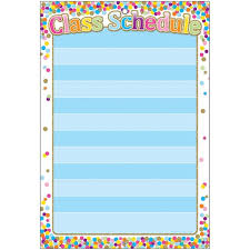 Class Of Fit Chart Smart Poly Confetti Class Schedule Chart W Grommet 10ct