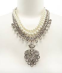 belle badgley mischka rhinestone faux pearl pendant statement necklace