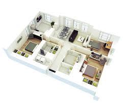 Mesmerizing 3 Bedroom House Floor Plans 3d Images Design Inspiration ...
