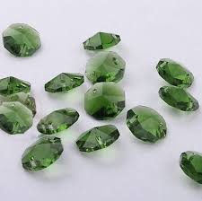 20pcs 14mm dark green crystal octagonal bead decoration crystal chandelier parts