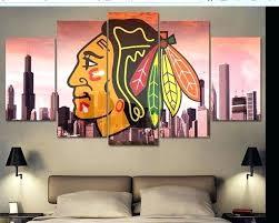 chicago blackhawks bedroom decor modern indoor decor framed hockey print canvas decoration 5 pieces images salon