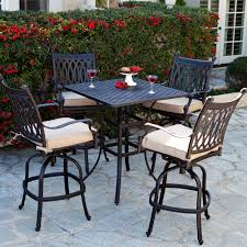 exterior black polished aluminum bar height patio dining set for