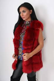 pippa red double deluxe faux fur leather gilet with silk lining