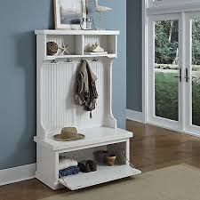 Coat Hanger And Shoe Rack White Hall Tree Coastal Cottage Entryway Shoe Storage Bench Hat Coat 89