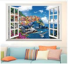 3d window mediterranean scenery wall sticker self adhesive pvc home decoration art decal living room sofa window background bedroom