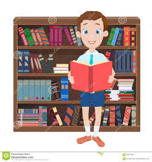 royalty free vector cartoon ilration with a boy reading a book and library stock vector ilration of