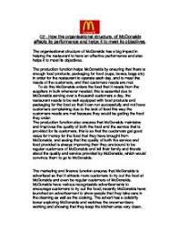 How The Organisational Structure Of Mcdonalds Affects Its