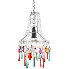 modern easy fit chandelier ceiling shade with multi coloured acrylic droplets