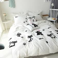 embroidery black white cats kitty duvet