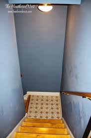 basement stairwell lighting. painted stripe stairway runner brightened up basement makeover stairwell lighting