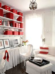 red home office. red and white home office i