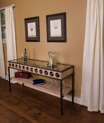 French Glass Top Wine Rack Console Table