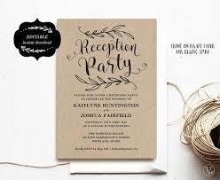 Wedding Reception Party Invitation Template Kraft Reception Card