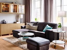 Ikea Design Ideas a living room with a dark brown two seat leather sofa with chaise longue and ikea ideas