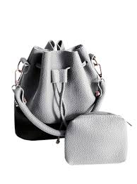 faux leather color block bucket bag light gray