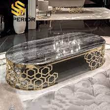 china living room black marble top gold