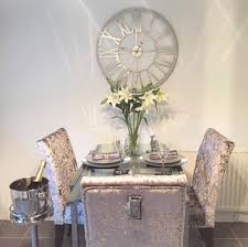 gorgeous crushed velvet dining chairs with studs and d ring knocker 4 chairs