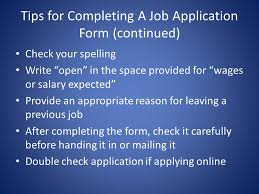 Tips For Completing Application Forms Chapter 4 Applying For A Job Cano Ppt Video Online Download