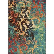 watercolor scroll multi bright colors 7 ft x 10 indoor area rug bright colored area rugs30