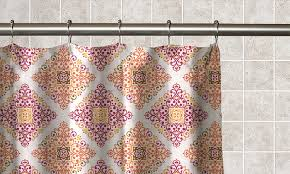 moroccan tile printed fabric shower curtain with matching roller hooks