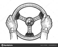 руки гонщика на карете рулевого колеса эскиз гравировки векторной