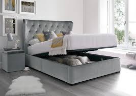 Ottoman Bedroom Savannah Upholstered Winged Ottoman Storage Bed Velvet Grey