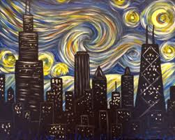 byob painting chicago ob chicago skyline van gogh inspired paint n sip tickets by photographer