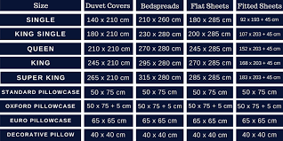 size guide bed linen