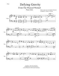 defying gravity sheet music defying gravity for piano music education resources pinterest